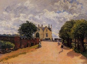 Alfred Sisley - Inn at East Molesey com Hampton Court Ponte