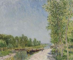 Alfred Sisley - nos bancos do loing Canal