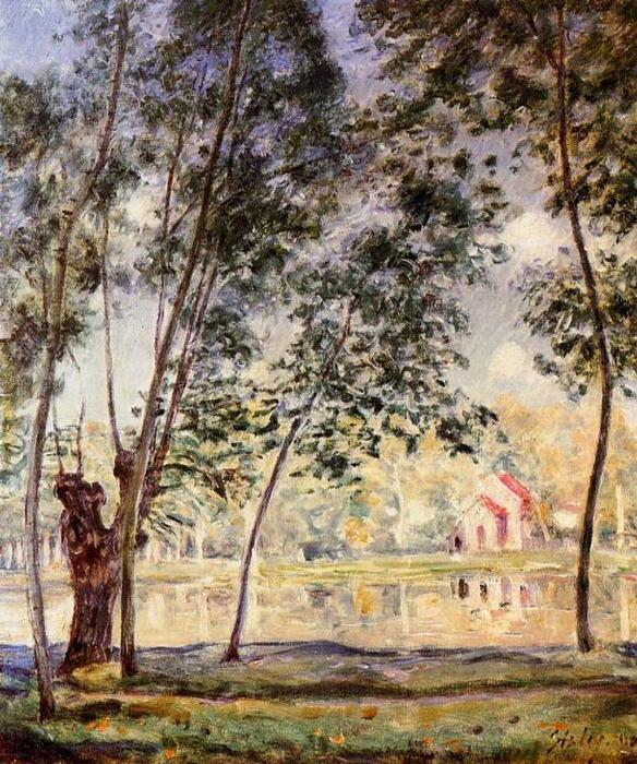 Willows tarde ensolarada pelo Loing, 1890 por Alfred Sisley (1839-1899, France) | WahooArt.com