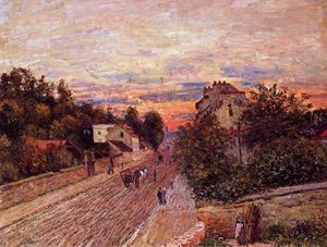 Alfred Sisley - pôr do sol em port marly