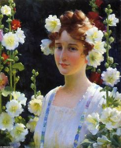 Charles Courtney Curran - Entre os Hollyhocks