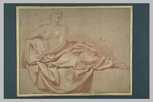 Charles Le Brun - Femme demi-nue , assise