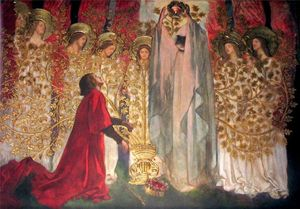 Edwin Austin Abbey - painel xv o golden tree eo conquista do graal