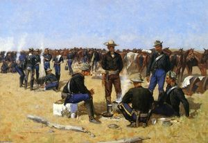 Frederic Remington - Uma Cavalryman's Breakfast on o Plains