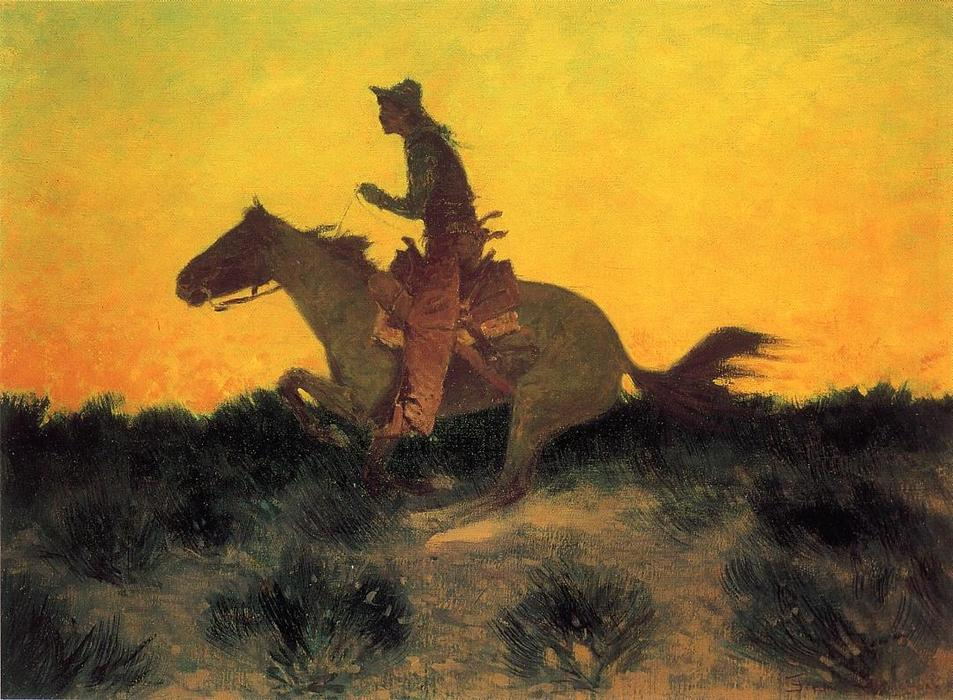 contra o pôr do sol, Petróleo por Frederic Remington (1861-1909, United States)