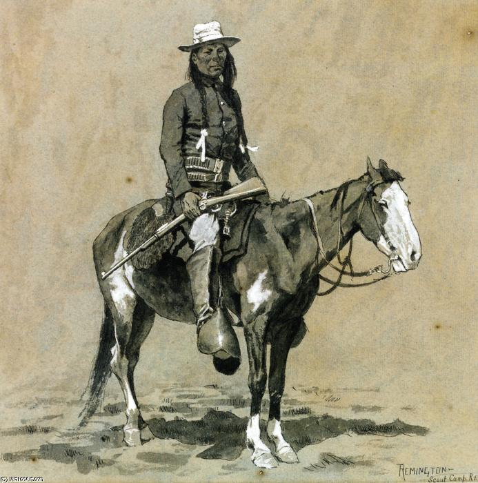 Indian Scout em Fort Reno, tinta para aguarela por Frederic Remington (1861-1909, United States)