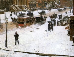 Frederick Childe Hassam - Fifth Avenue em Winter 1