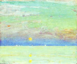 Frederick Childe Hassam - Moonrise no por do sol