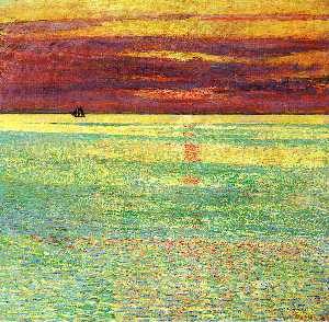 Frederick Childe Hassam - pôr do sol na mar
