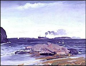 George Wesley Bellows - O cargueiro , monhegan , maine e brisa