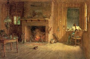Thomas Worthington Whittredge - o club house sitting room em balsam lake , Catskills
