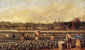 William Aiken Walker - Picking Cotton na frente da Quarters