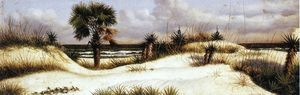 William Aiken Walker - florida seascape com duna , palmeira , e mandiocas