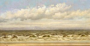 William Aiken Walker - oceano ondas `breaking` sobre praia