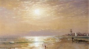 William Trost Richards - ao longo de praia em direcção a  do sol