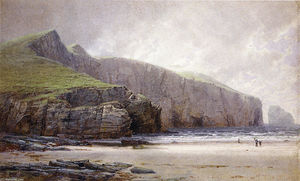 William Trost Richards - pescador na shore , Trebarwith Costa , Cornualha