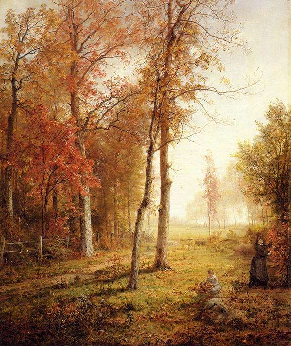 Gathering Leaves, 1876 por William Trost Richards (1833-1905, United States) | Reproduções De Belas Artes William Trost Richards | WahooArt.com