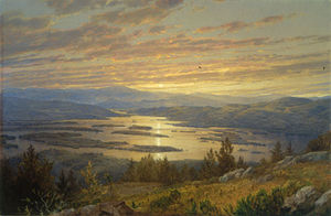 William Trost Richards - Lago Squam a partir de morro vermelho