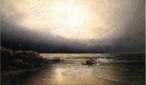 William Trost Richards - terras fim  -   novo  camisola  costa