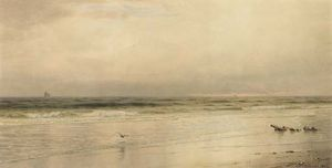 William Trost Richards - baixamar sobre  o  camisola  costa