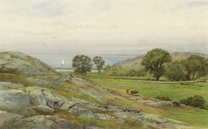 William Trost Richards - Newport Paisagem . colinas e mar
