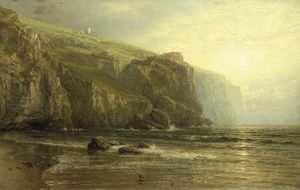 William Trost Richards - pôr do sol ao longo de costa de cornualha