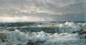 William Trost Richards - Surf em rochas