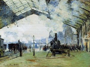 Claude Monet - chegada do trem de normandy , Gare Saint-Lazare