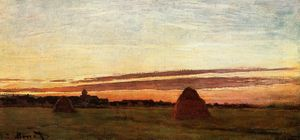 Claude Monet - Grainstacks na Chailly no nascer do sol