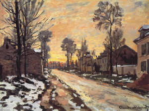 Claude Monet - estrada na louveciennes degelo  neve  do sol
