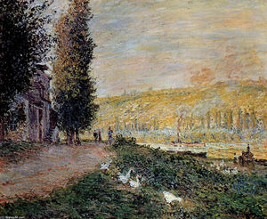 Claude Monet - Os bancos do Seine, Lavacourt