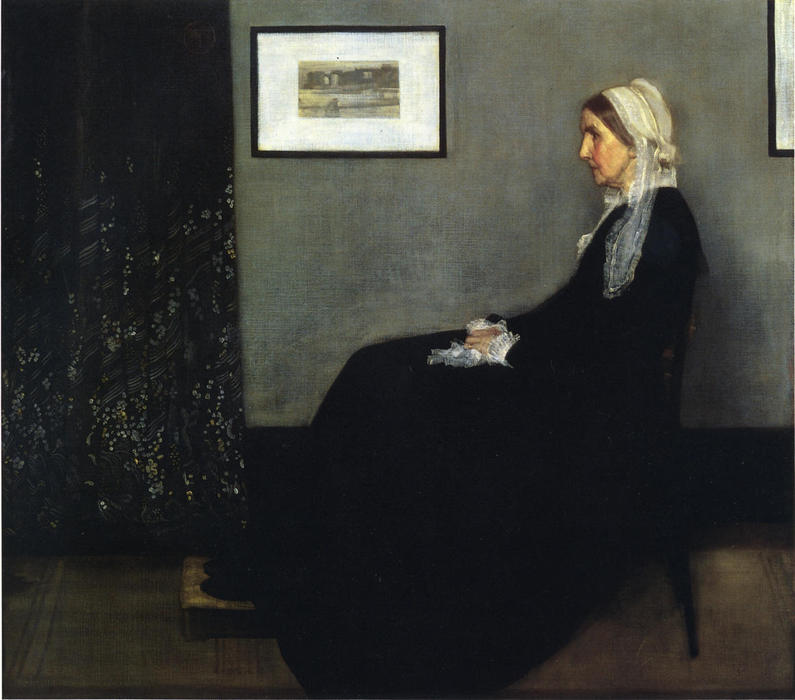 arranjo em cinzento e preto . Retrato do Painter's Mãe, Petróleo por James Abbott Mcneill Whistler (1834-1903, United States)