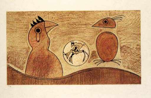 dois aves por Max Ernst (1891-1976, Germany) | WahooArt.com