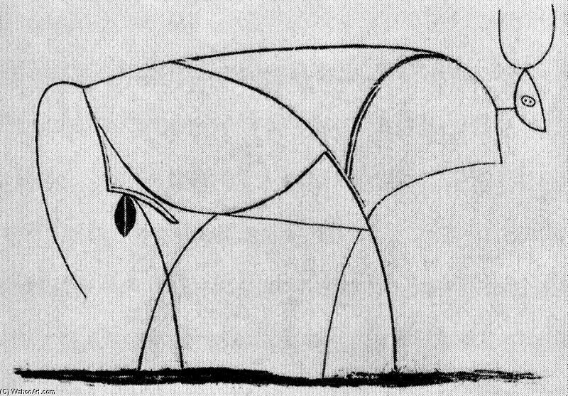 Conhecido toro 4, desenho por Pablo Picasso (1881-1973, Spain) DW52