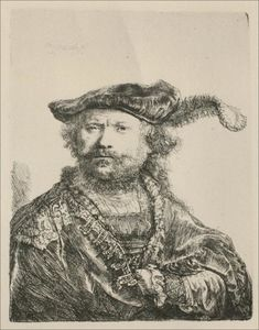 Rembrandt Van Rijn - Rembrandt com Mezetin Cap and Feather