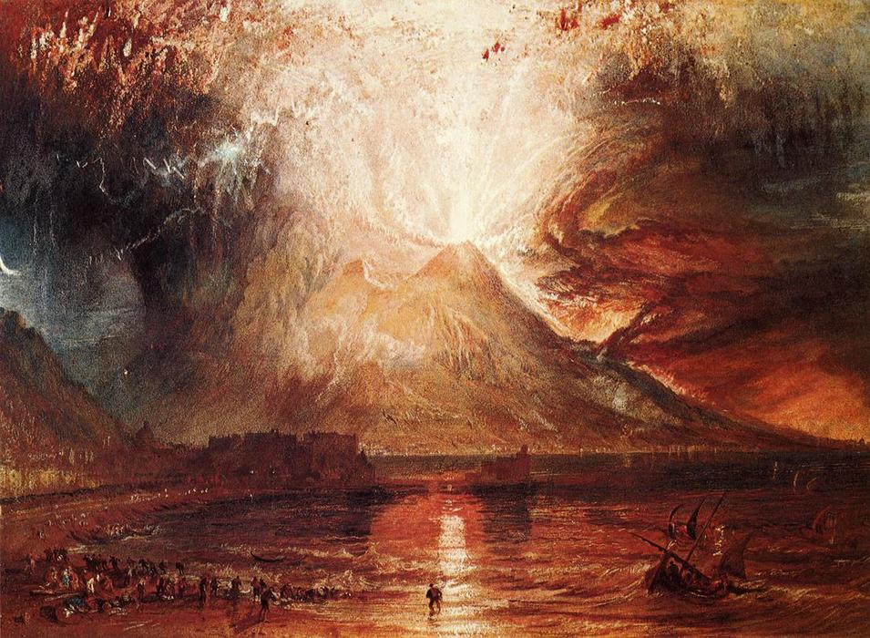 Erupção do Vesúvio, óleo por William Turner (1775-1851, United Kingdom)