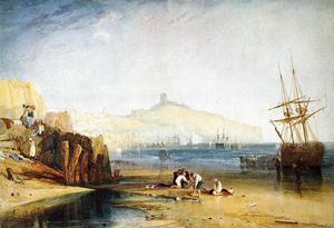 William Turner - Scarborough Cidade e Castelo . Dia . meninos que travam Caranguejos