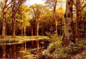 Peder Mork Monsted - uma floresta  riacho
