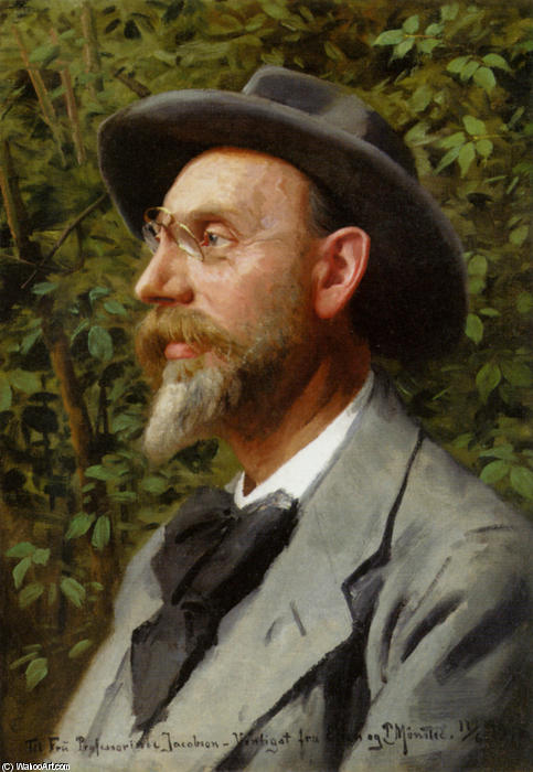 Portraet Af professor Jacobsen, óleo por Peder Mork Monsted (1859-1941, Denmark)