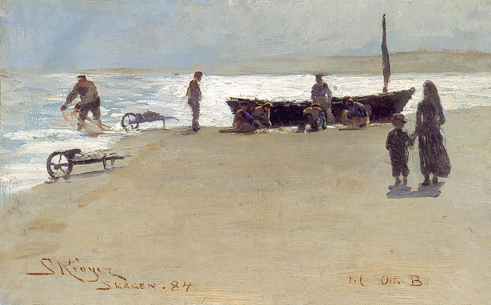 Skagen 1, óleo por Peder Severin Kroyer (1851-1909, Norway)