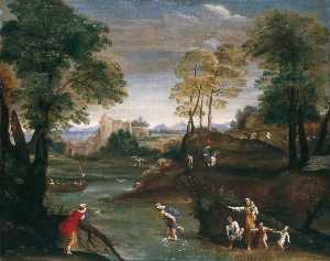 Domenichino (Domenico Zampieri) - Paisagem com Ford