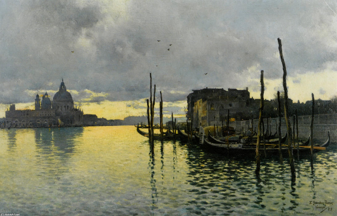 Evening_Looking_Towards_the_Grand_Canal_with_Santa_Maria_Della_Salute_in_the_Distance por Emilio Sanchez-Perrier (1855-1907, Spain)