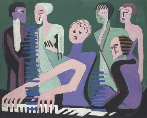 Cantatrice au piano ou Pianistin por Ernst Ludwig Kirchner (1880-1938, Germany)