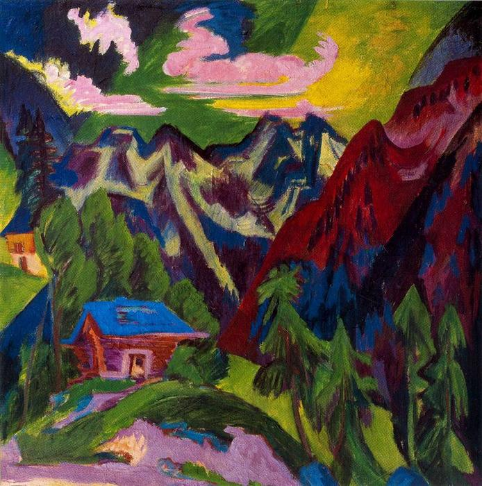 A montanha Klosters por Ernst Ludwig Kirchner (1880-1938, Germany) | WahooArt.com