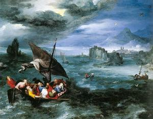 Jan Brueghel The Elder - cristo no tempestade à mar da galiléia