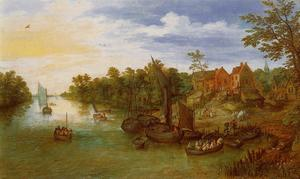 Jan Brueghel The Elder - Paisagem do rio com Landing