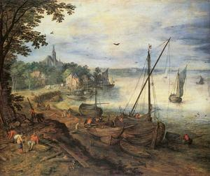 Jan Brueghel The Elder - Paisagem do rio com Lumbermen