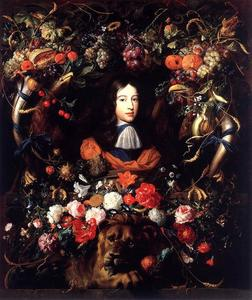 Jan Davidsz De Heem - guirlanda de flores e frutas com o retrato do príncipe william iii de orange