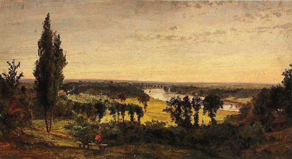 Richmond Hill e do Tamisa em Londres , 1861 por Jasper Francis Cropsey (1823-1900, United States) | WahooArt.com