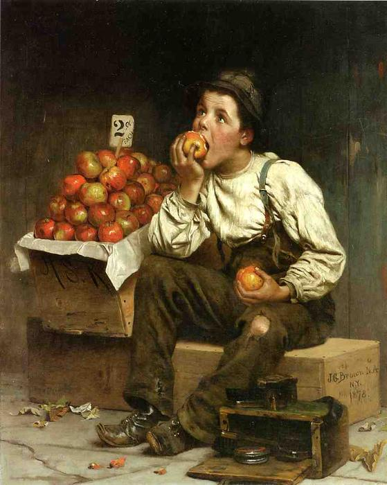 Comer os lucros, 1878 por John George Brown (1831-1913, United Kingdom) | WahooArt.com